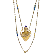 Antique Art Nouveau Jeweled 18K Gold Perfume Scent Flask Bottle Necklace
