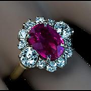 Vintage No-Heat 2.71 Ct Burma Ruby Diamond Engagement Ring