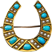 Antique Turquoise Pearl Gold Horseshoe Brooch Pin