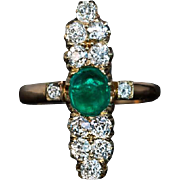 Antique Cabochon Emerald Diamond Gold Ring