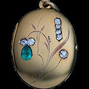 Antique Art Nouveau 14k Gold Emerald Diamond Locket Pendant