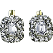 Vintage Soviet Diamond Cluster Two Color 18K Gold Earrings