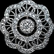 Antique Edwardian Diamond Snowflake Platinum 18K Gold Ring