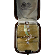 Antique Art Nouveau Diamond Enamel Flower Ring