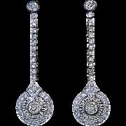 Art Deco Vintage 3 Ct Diamond Platinum Gold Dangle Earrings