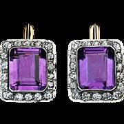 Vintage Russian Art Deco Amethyst Diamond Cluster Earrings