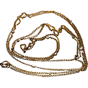 Antique 64 in. Long 14k Gold Chain Necklace with Pearls