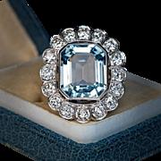 Vintage Aquamarine Diamond Platinum Cluster Ring