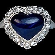 Vintage Heart Shaped Sapphire Diamond Platinum Engagement Ring