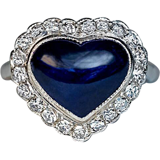 Vintage Heart Shaped Sapphire Diamond Platinum Engagement Ring