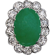 Vintage Natural Jade and Diamond Cluster Ring