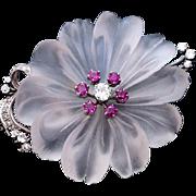 Vintage Austrian Jeweled Rock Crystal Brooch / Pin