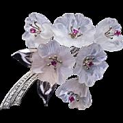 Vintage Carved Rock Crystal Ruby Diamond Brooch