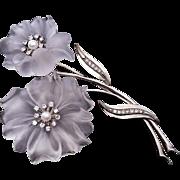 Vintage Rock Crystal Diamond Pearl Flower Brooch