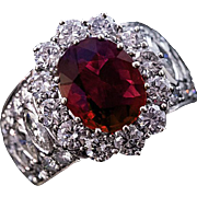 Natural Ruby and Diamond 14k White Gold Cluster Ring