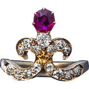 Belle Epoque Antique Tiara-Shaped Ruby Diamond Ring