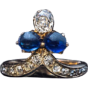 Antique Victorian Cabochon Sapphire Diamond Tiara Ring