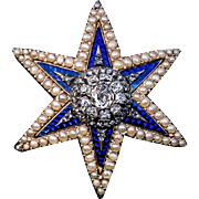 Antique Diamond Enamel Pearl Star Brooch / Pendant