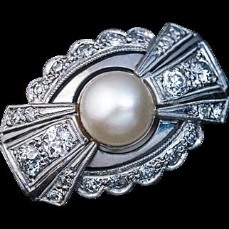 Art Deco Vintage Bow Motif Pearl Diamond 14k White Gold Ring