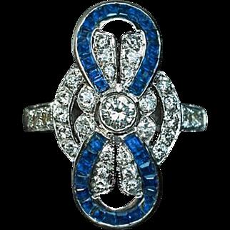 Vintage Diamond Calibre Cut Sapphire Bow Ring