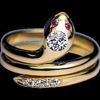 Antique Victorian Diamond Ruby 14k Gold Snake Ring