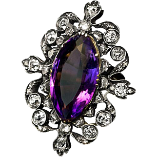 Victorian Era Antique Amethyst Diamond Openwork Ring
