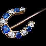 Antique Sapphire Diamond Horseshoe Stick Pin