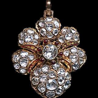 Victorian Era Antique 7 Ct Rose Cut Diamond 14k Gold Pendant