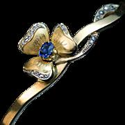 Antique Art Nouveau 14k Gold Sapphire Diamond Bangle Bracelet