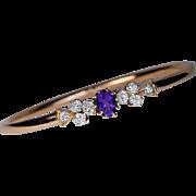 Antique Russian Amethyst Diamond 14K Gold Bangle Bracelet