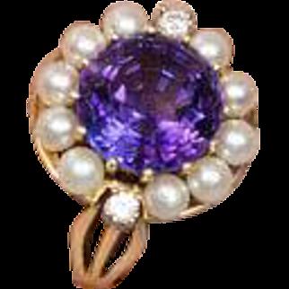Vintage Amethyst Pearl Diamond Cluster Ring