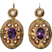 Victorian Antique Amethyst Pearl Two-Color 14 k Gold Earrings