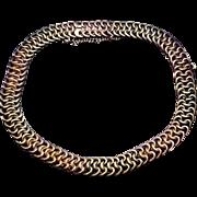 Antique Russian Flat Link Two-Color 14k Gold Unisex Bracelet