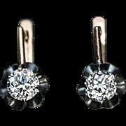 Antique 1.22 Ct Old Mine Cut Diamond Buttercup Earrings
