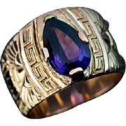 Unisex Amethyst 14K Gold Wide Band Ring