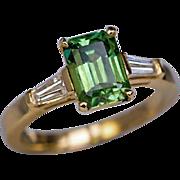 Rare Emerald-Cut 1.91 Ct Russian Demantoid Diamond Ring