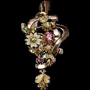 Antique Russian Art Nouveau Jeweled 14K Gold Pendant