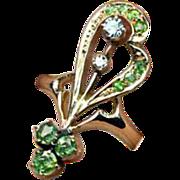 Antique Art Nouveau Russian Demantoid Diamond 14K Gold Ring