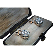 2 Ct Old Mine Cut Diamond Cluster Earrings
