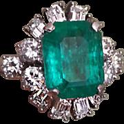 Vintage 4.62 Ct Emerald 2.32 Ct Diamond Platinum Ring