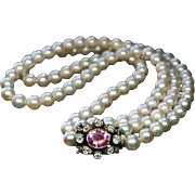 Vintage Double Strand Cultured Pearl Necklace with Jeweled Clasp