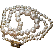 Vintage 1920s Cultured Pearl Necklace with 14K Gold Clasp