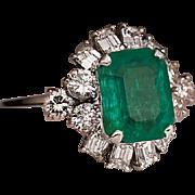 Vintage 4.62 Ct Emerald Diamond Platinum Ring