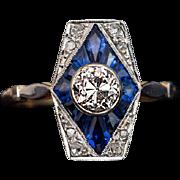 Vintage French Art Deco Diamond Calibre Sapphire Engagement Ring