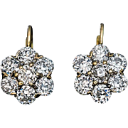 Antique 4.62 Ct Old European Cut Diamond Cluster Earrings