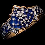 Belle Epoque Antique Blue Enamel Diamond Platinum 14K Gold Bracelet