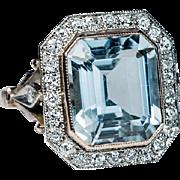 Vintage Art Deco Aquamarine Diamond Engagement Ring