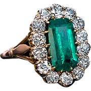 Antique Emerald Diamond Gold Engagement Cluster Ring