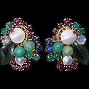 Vintage Retro Tutti Frutti Multi-Gemstone 18K Gold Earrings and Ring
