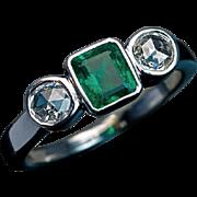 Vintage Three-Stone Emerald and Diamond Unisex Ring
